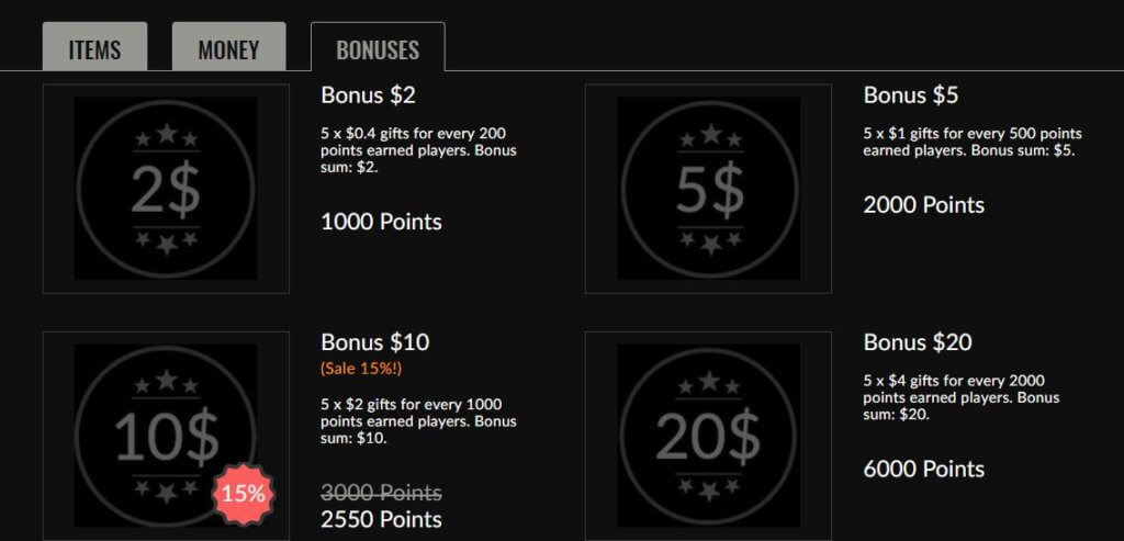 Purchase bonuses at the EGB shop.