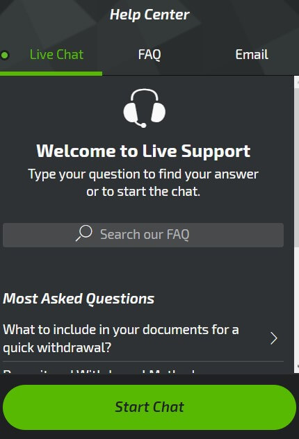 Live Chat options.